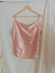 Satin Pink Petal Dot Cross Top