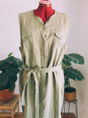 Light Moss Linen Dress-