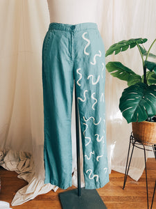 Linen Seafoam Squiggle Painted Trousers