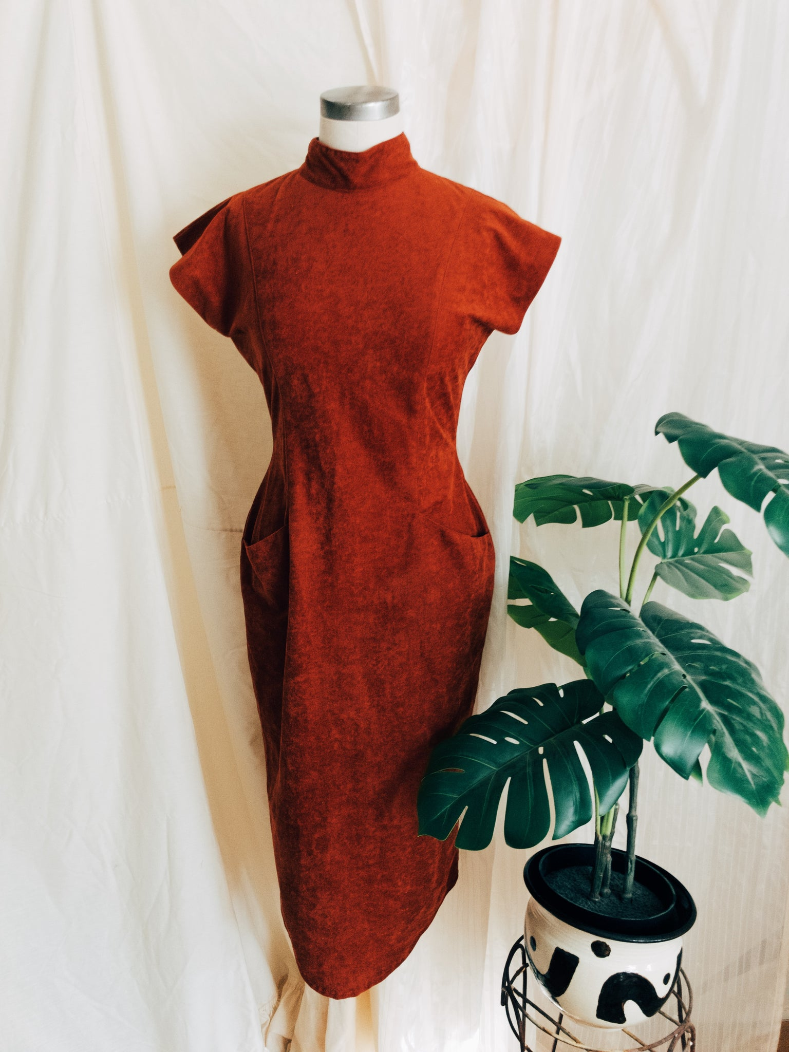 Color Me Rust Vintage High neck Dress
