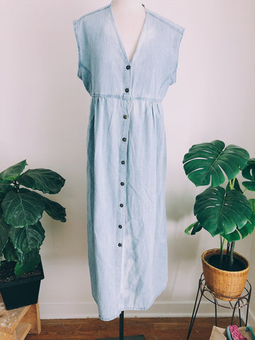 Boho Bleach Toned Spring Button Dress