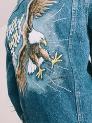 Pastel Power Eagle Hand Embroidered Denim Jacket