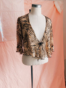 Chiffon Cheetah Flutter Top