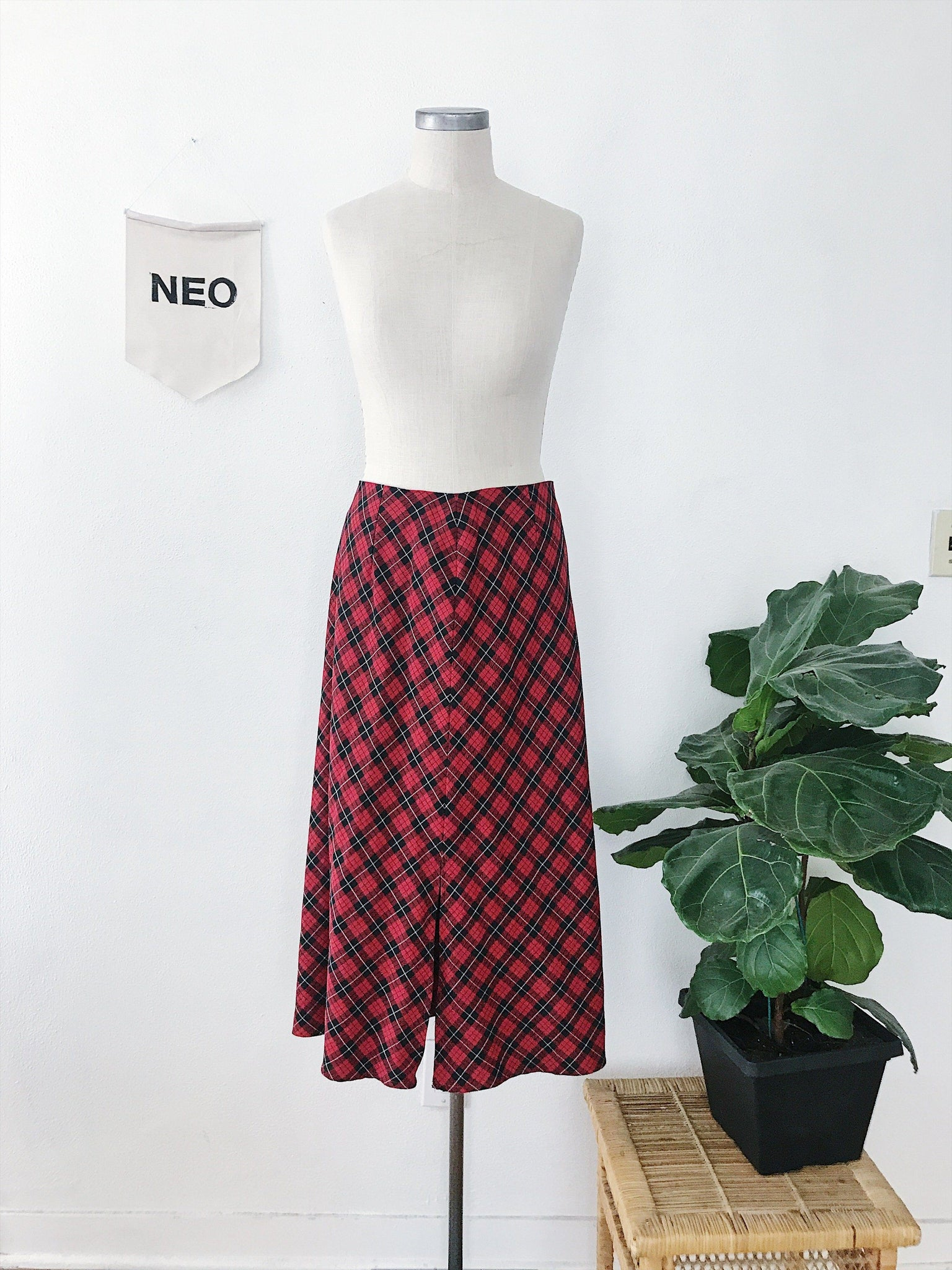 Euro Plaid Midi Skirt