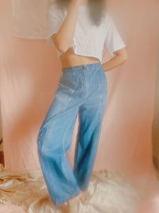 Side-cinching Pearled Patch Chambray Trousers