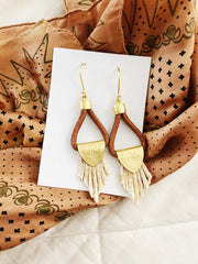 Boho Leather Gold Thistle Earring
