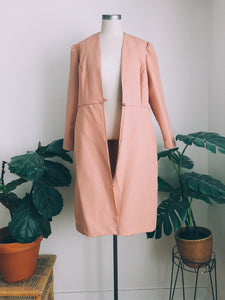Dusted Rose Elongated Trench Duster