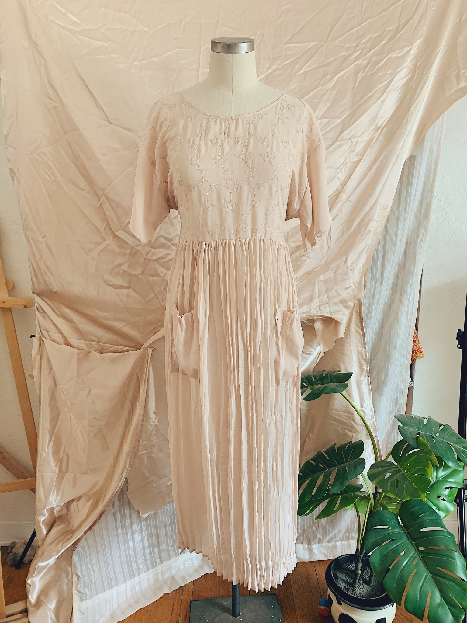 Vintage Chiffon Flower Trail Summer Dress