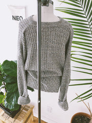 Subtle Crop Moss + Oat Sweater