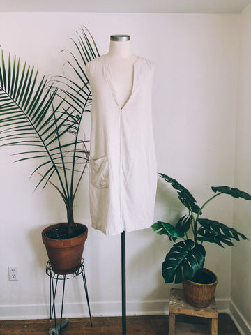 Oat Linen Pinafore Dress