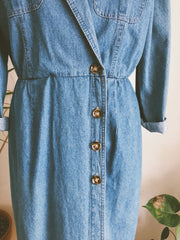 Mid Wash Denim Button Wrap Dress/Duster