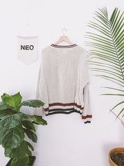 Retro Varsity Gap Knit Sweater