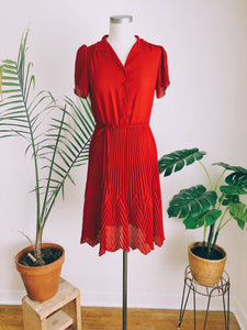Retro Cherry Chiffon Pleat Dress
