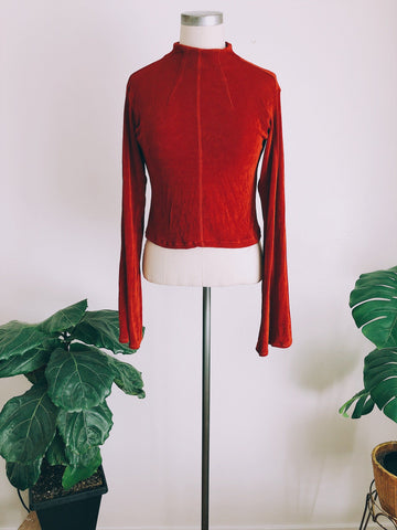 Scarlet Mock Neck Bell Top