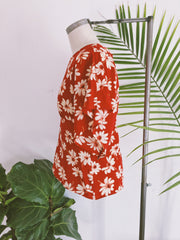 Red Flower Burst Babydoll Top