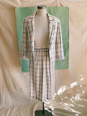 Cream Block Plaid Skirt Suit Set