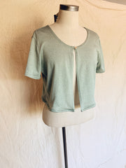 Sage Sheen Button Top