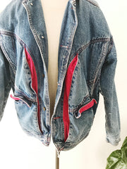 Vintage Crimson Cord Denim Jacket