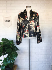 Silky Black Bloom Caped Blouse