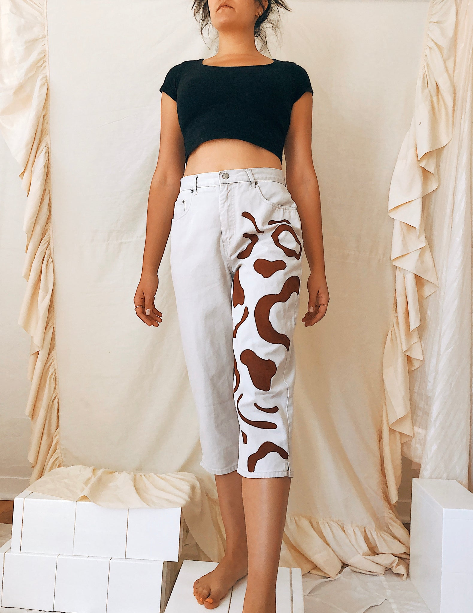 Rusty Sienna Abstraction High-Rise Culottes