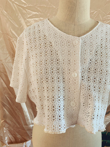 Cotton Laced Scallop Crop Top