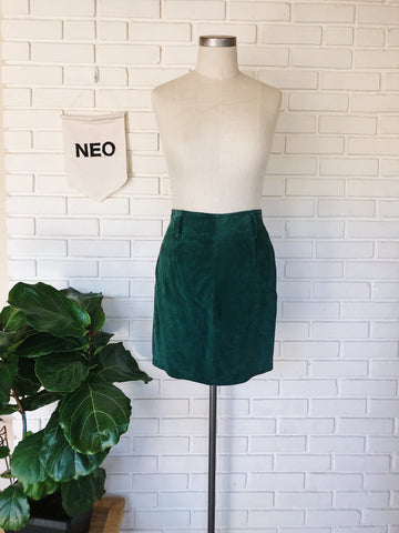 Vintage Green Suede Skirt