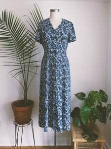 Button Front Blue Flor Dress