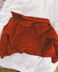 Art Deco Face Cherry Corduroy Jacket