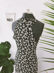 Onyx + Blanc Floral Button Dress