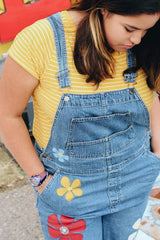 Hand Painted Bright and Shiny Flower Overalls