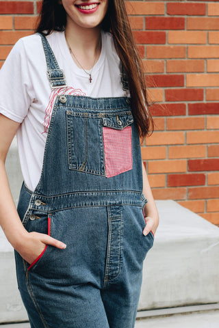 Red Lined Gingham Overalls