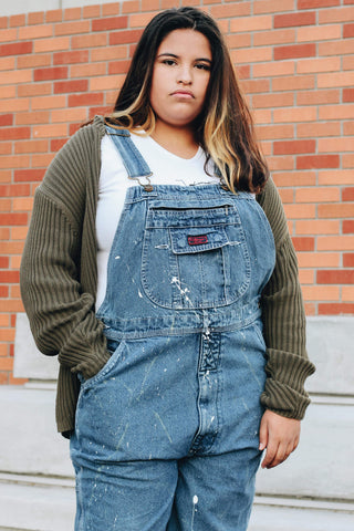 White Painted Vintage Denim Overalls
