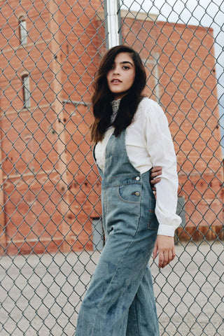 '70's V-neck Vintage Denim Overalls