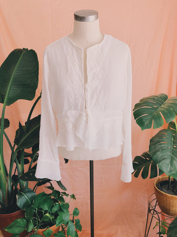 White Lace & Chiffon Flutter Top