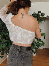 Load image into Gallery viewer, Snow Organza Single Shoulder Top