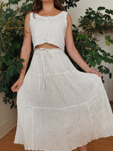 Load image into Gallery viewer, Vintage Drawstring Shimmer Cream Skirt
