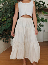 Load image into Gallery viewer, Vintage Cotton Cream Tiered Skirt