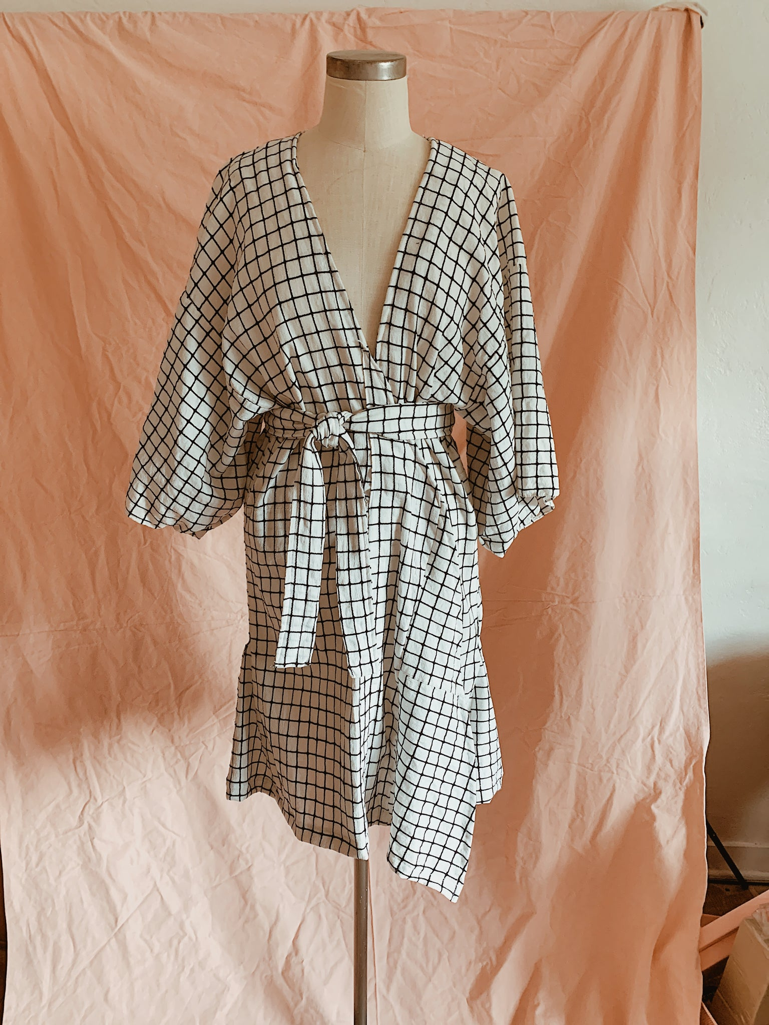 Grid Wrap Summer Dress