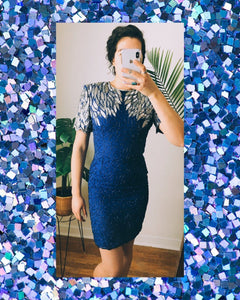 Cobalt Glitter Elixir Vintage Cocktail Dress