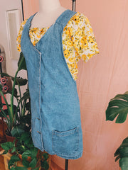 Acid Wash Denim Pinafore Dress