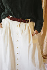 Belted Cream Linen Button Front Skirt