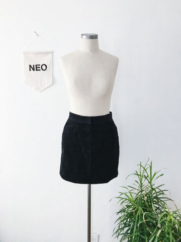 Black Corduroy Mini Skirt • Size 6