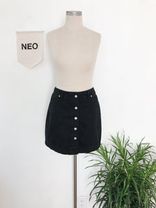 Black Denim Button Down Skirt • Size 8