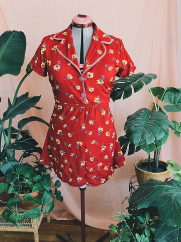 Carnelian Red Flower Dress