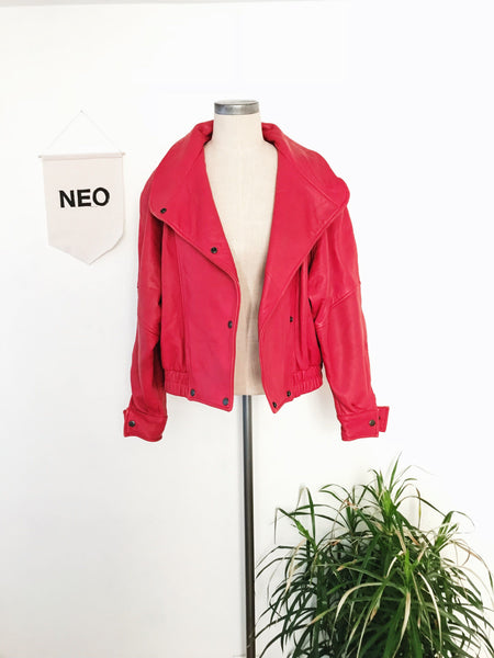 Cherry Red Leather Bomber