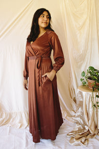 Choco Copper Wrap Dress