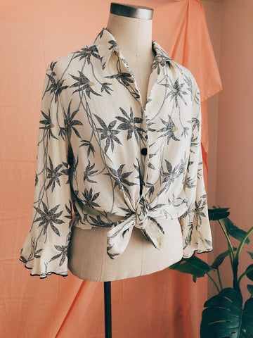 Cream Palms Tie Top