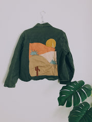 Deep Green Rolling Desert Denim Jacket