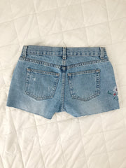 flower patch denim shorts • size 4