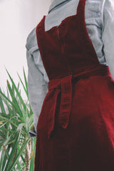 Garnet Red Corduroy Pinafore Dress